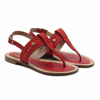 sandales tropeziennes cuir daim rouge jules & jenn