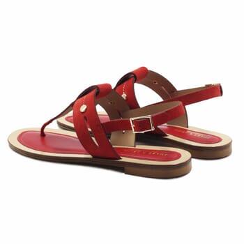 vue arriere sandales tropeziennes cuir daim rouge jules & jenn