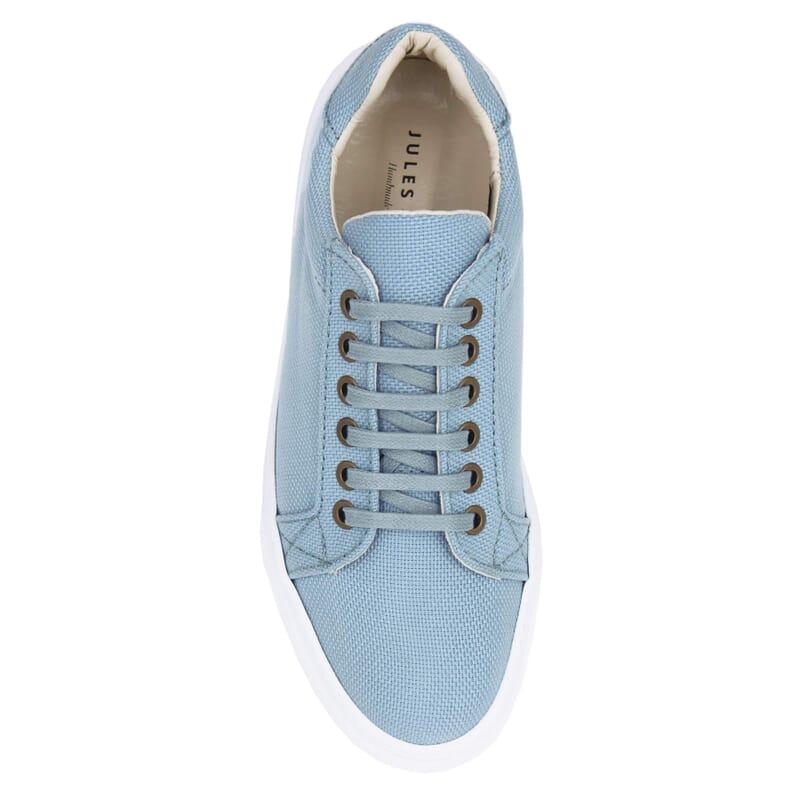vue dessus baskets recyclees femme bleu clair jules & jenn