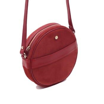 vue côté sac Alice suir daim rouge jules & jenn