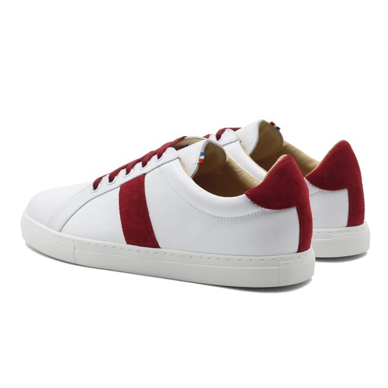 vue arrière baskets Made in France cuir blanc & rouge JULES & JENN