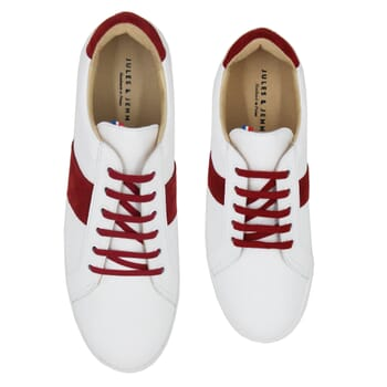 vue dessus baskets Made in France cuir blanc & rouge JULES & JENN