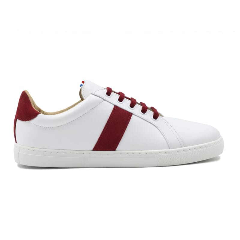 vue extérieur baskets Made in France cuir blanc & rouge JULES & JENN