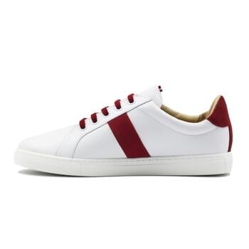 vue intérieur baskets Made in France cuir blanc & rouge JULES & JENN