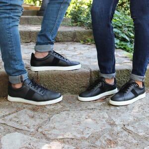 vue portée baskets Made in France cuir noir JULES & JENN