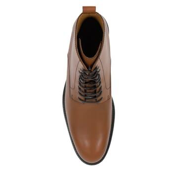 vue dessus boots à lacets cuir cognac jules & jenn