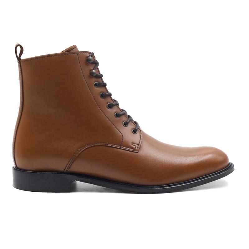 vue extérieur boots à lacets cuir cognac jules & jenn