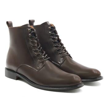 boots à lacets cuir marron jules & jenn