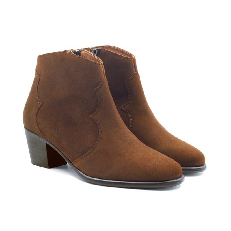 vue face bottines cowboy cuir daim camel jules jenn