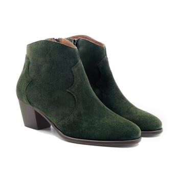 bottines cowboy cuir daim vert jules & jenn