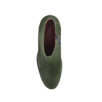 vue dessus bottines cowboy cuir daim vert jules & jenn
