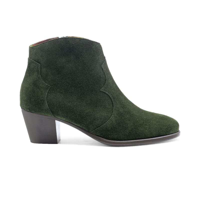 vue extérieur bottines cowboy cuir daim vert jules & jenn