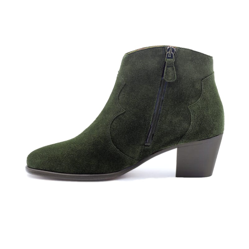 vue intérieur bottines cowboy cuir daim vert jules & jenn