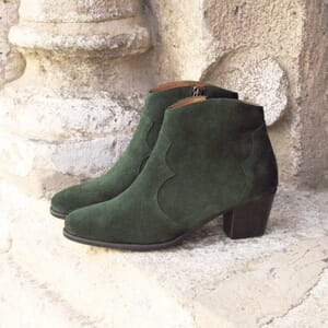 vue posée bottines cowboy cuir daim vert jules & jenn