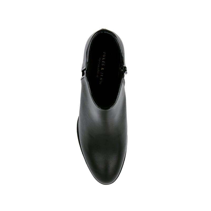 vue dessus bottines moyen talon cuir noir