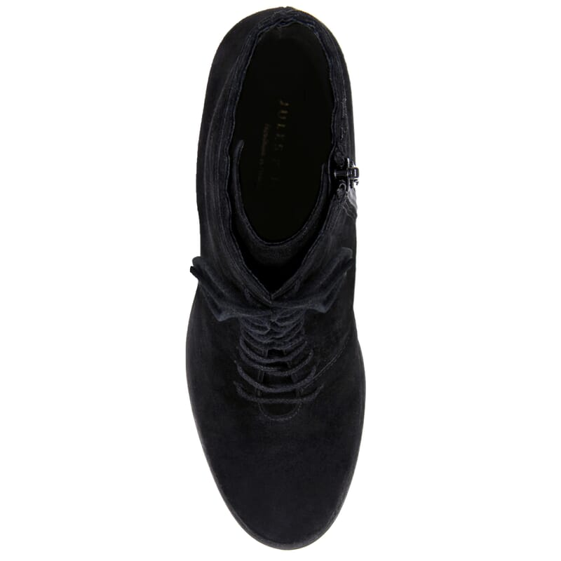 vue dessus bottines talon a lacets cuir daim noir jules & jenn