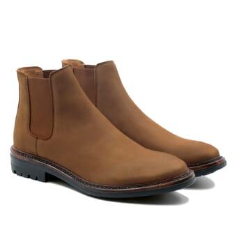 vue face chelsea boots basse cuir nubuck cognac jules & jenn