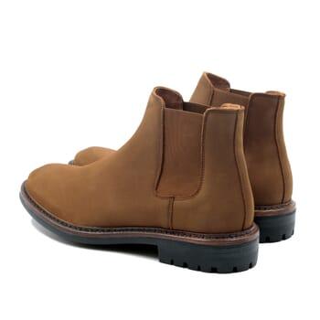 vue arriere chelsea boots basse cuir nubuck cognac jules & jenn