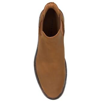 vue dessus chelsea boots basse cuir nubuck cognac jules & jenn
