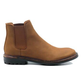 vue exterieur chelsea boots basse cuir nubuck cognac jules & jenn