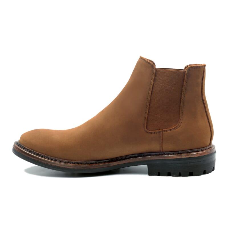 vue interieur chelsea boots basse cuir nubuck cognac jules & jenn