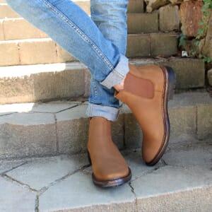 vue portée chelsea boots basse cuir nubuck cognac jules & jenn