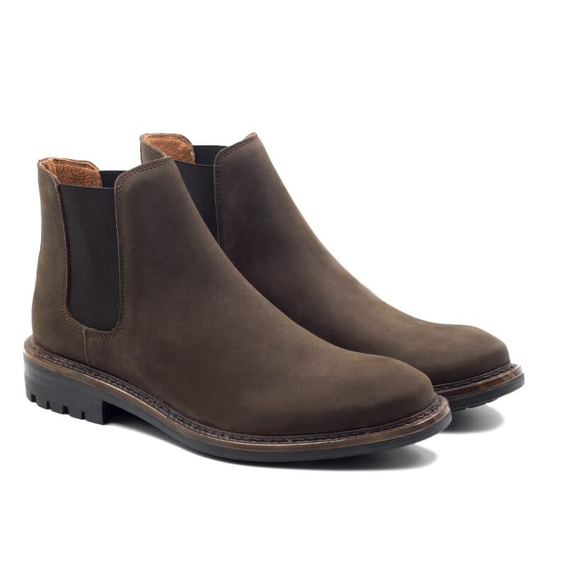 vue face chelsea boots basse cuir nubuck marron jules & jenn