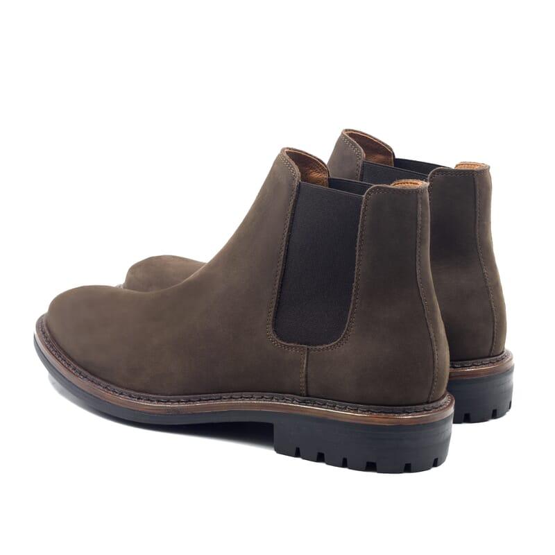 vue arriere chelsea boots basse cuir nubuck marron jules & jenn