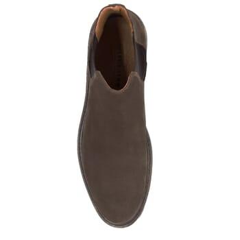 vue dessus chelsea boots basse cuir nubuck marron jules & jenn