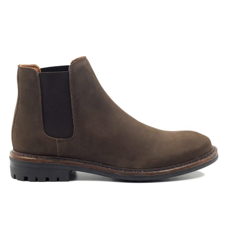 vue exterieur chelsea boots basse cuir nubuck marron jules & jenn