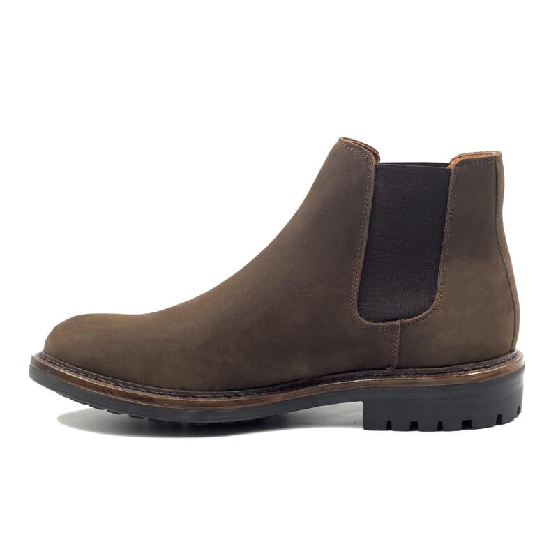 vue interieur chelsea boots basse cuir nubuck marron jules & jenn
