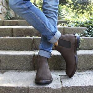vue portée chelsea boots basse cuir nubuck marron jules & jenn