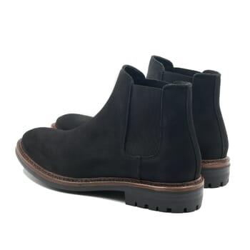 vue arriere chelsea boots basse cuir nubuck noir jules & jenn