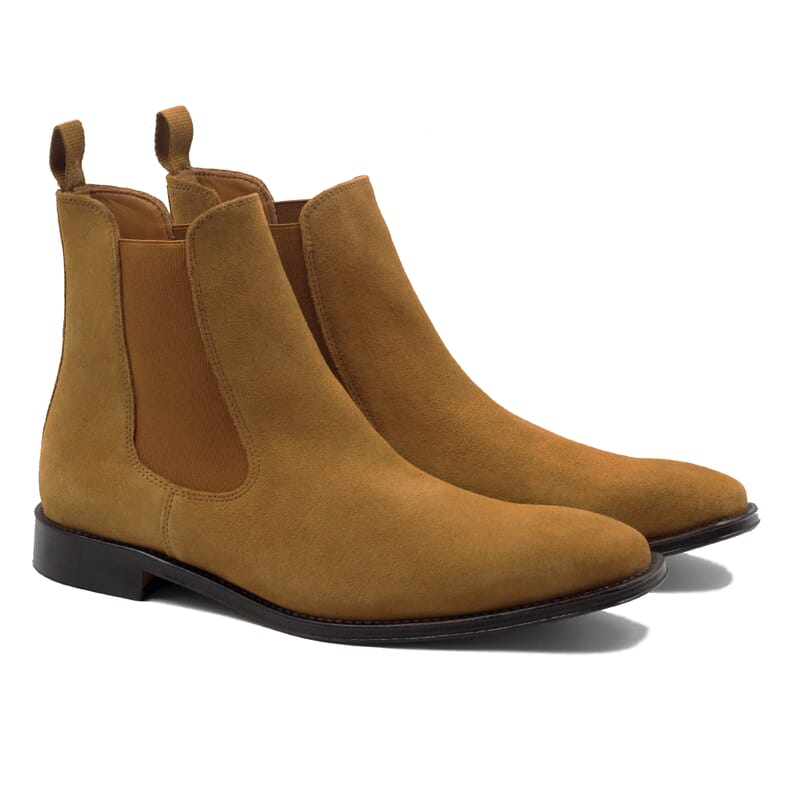 vue face chelsea boots cuir daim camel jules & jenn