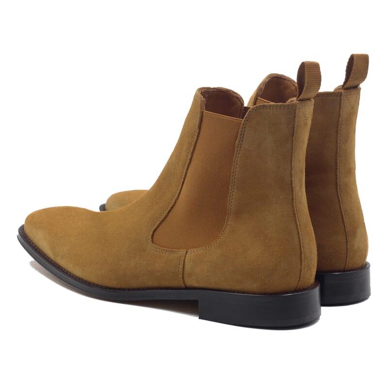 vue arriere chelsea boots cuir daim camel jules & jenn