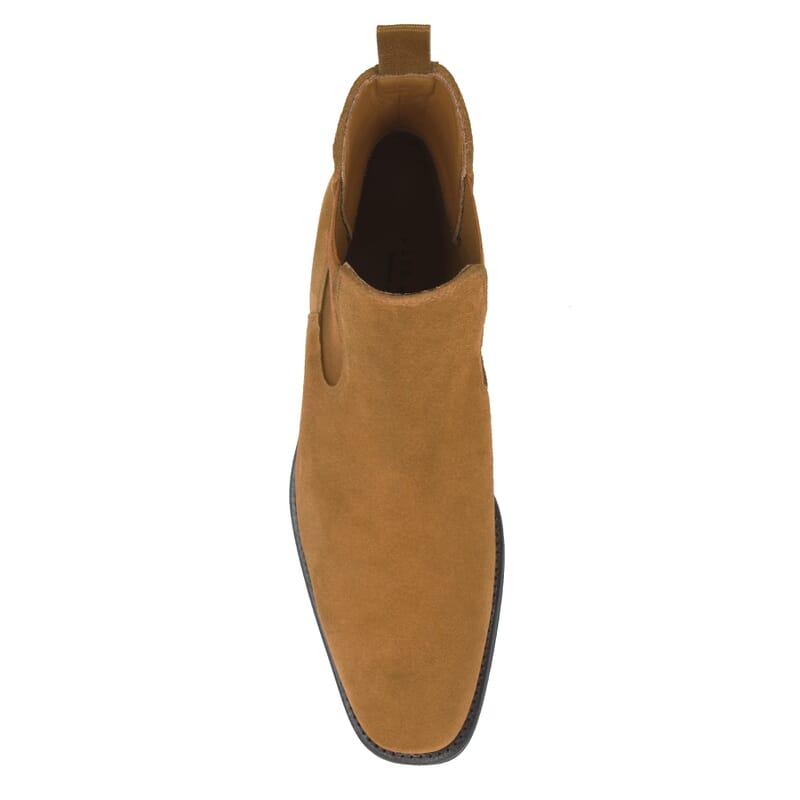 vue dessus chelsea boots cuir daim camel jules & jenn