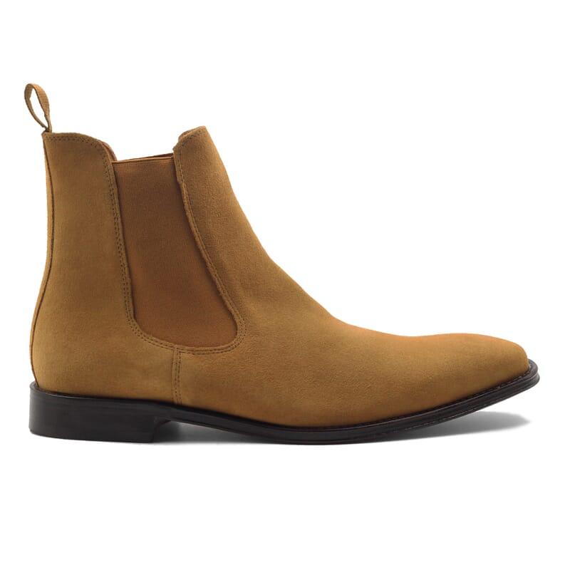 vue exterieur chelsea boots cuir daim camel jules & jenn