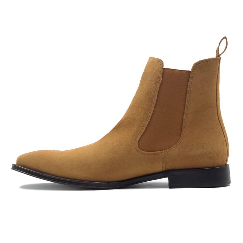 vue interieur chelsea boots cuir daim camel jules & jenn