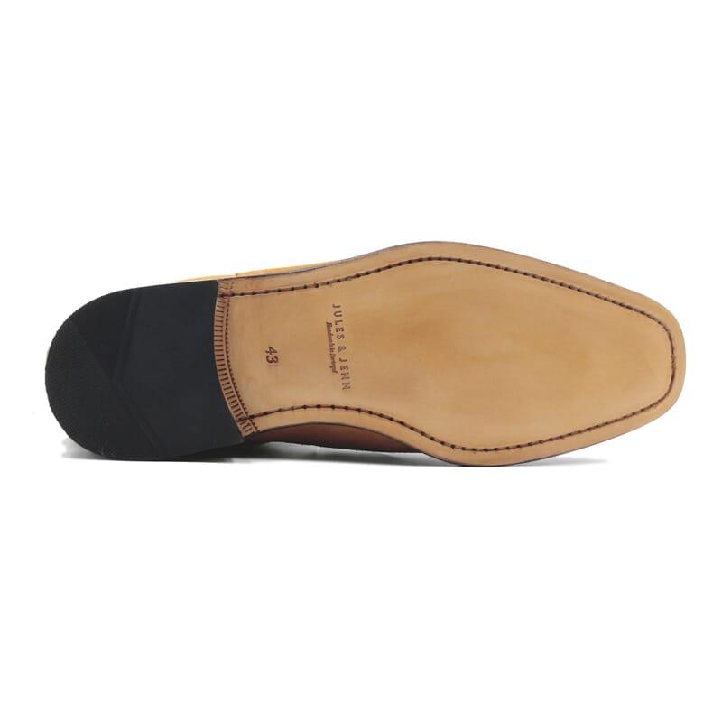 vue dessous chelsea boots cuir daim camel jules & jenn