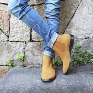 vue portée chelsea boots cuir daim camel jules & jenn