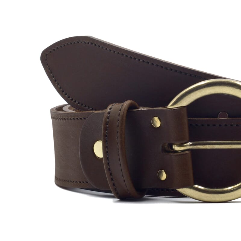 gros plan ceinture bohème cuir marron jules & jenn