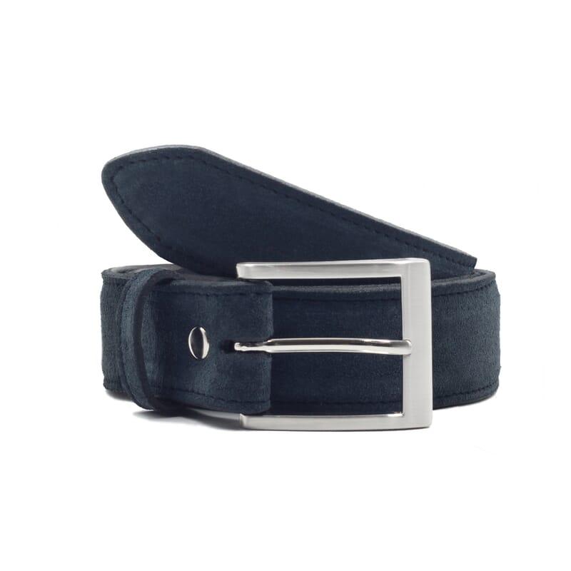 vue face ceinture classique cuir daim bleu jules & jenn