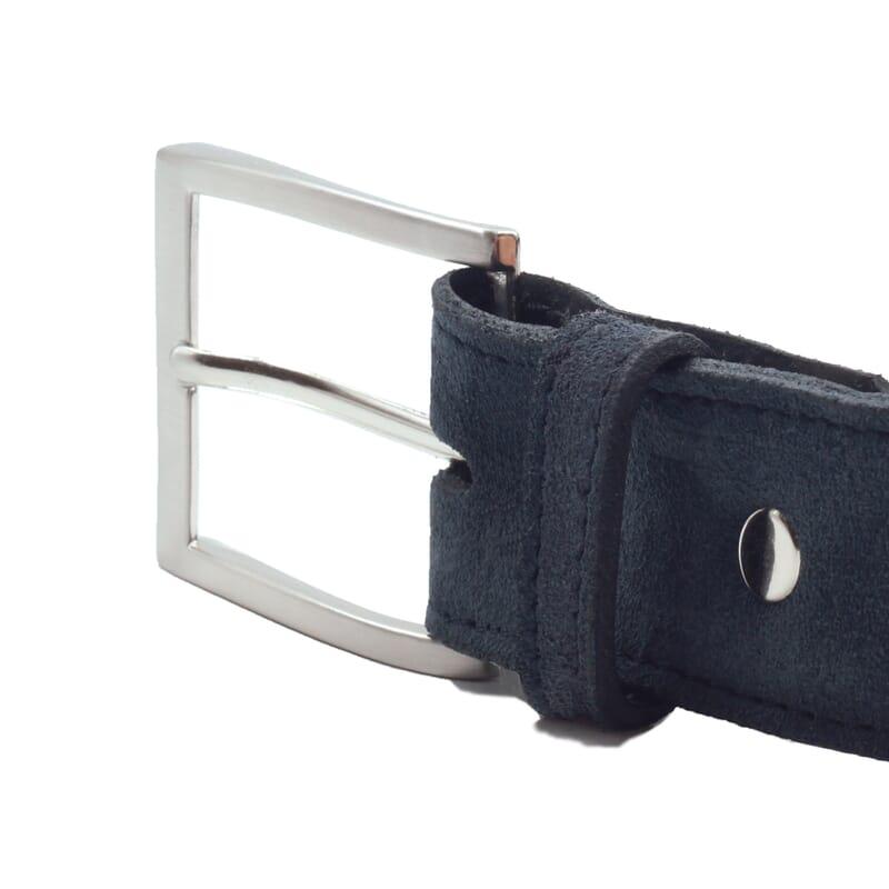 vue boucle ceinture classique cuir daim bleu jules & jenn