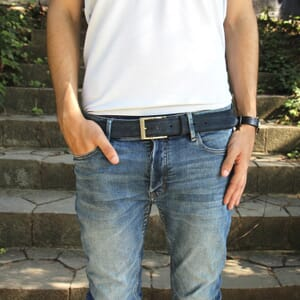 vue portée ceinture classique cuir daim bleu jules & jenn