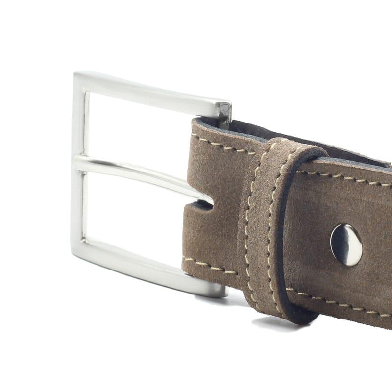 vue boucle ceinture classique cuir daim taupe jules & jenn