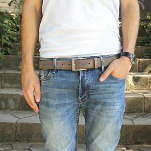 vue portée ceinture classique cuir daim taupe jules & jenn