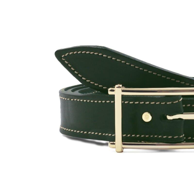 gros plan ceinture mademoiselle cuir vert jules & jenn