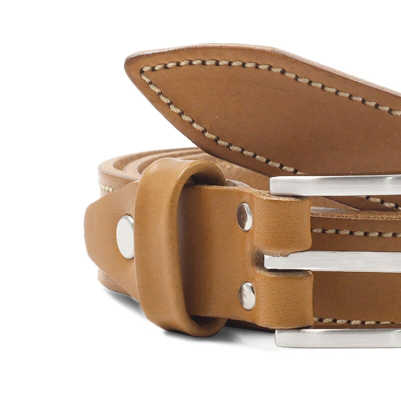gros plan ceinture new york cuir camel jules et jenn