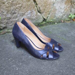 vue posée escarpins bout ouvert cuir bleu metallise jules & jenn