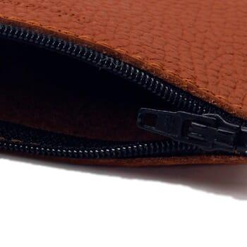 vue intérieure pochette cuir grainé upcyclé brique petit modèle jules & jenn